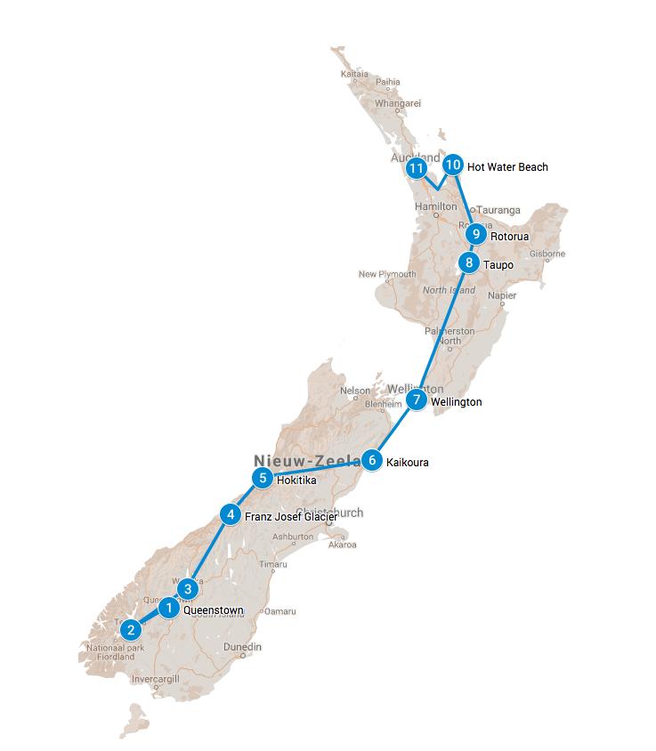 Route rondreis Nieuw Zeeland