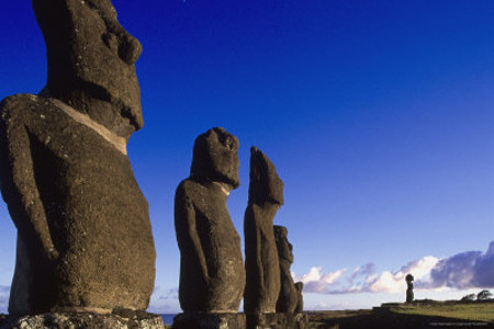 Moai At Ahu Tahai, Easter Island, Chile
